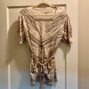 REBECCA TAYLOR cashmere blend zebra cardigan